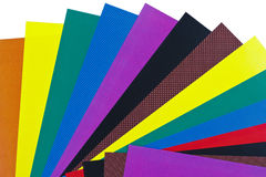 Folhas de papel da cor fotografia de stock