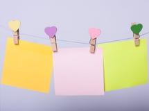 Folhas de papel na linha Imagem de Stock
