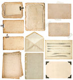 Folhas de papel usadas páginas do livro do vintage, cartões, notas da música, Fotos de Stock Royalty Free