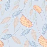 Folhas de queda do teste padrão sem emenda em um fundo azul Fotos de Stock