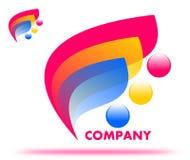 Folhas de tiragem do rosa do logotipo da empresa ilustração do vetor