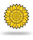 A flor amarela folheia ilustração Fotografia de Stock Royalty Free