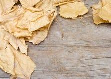 Folhas do amarelo no fundo de madeira Foto de Stock