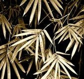 Folhas do bambu - tom do sepia imagens de stock