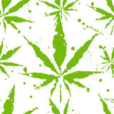 Folhas do cannabis - teste padrão sem emenda ilustração stock