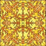 Folhas do carvalho do vidro manchado do vetor Fotografia de Stock