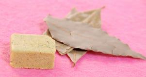 Folhas do cubo e do louro do condimento Imagens de Stock Royalty Free