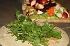 Folhas do dente-de-leão e fruto desbastado em placas de madeira imagem de stock