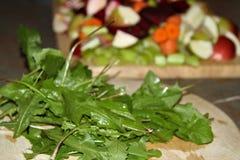 Folhas do dente-de-leão e fruto desbastado em placas de madeira imagens de stock