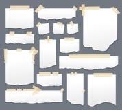 Folhas do Livro Branco com grupo de fita escocêsa Os papéis pegajosos com sellotape esparadrapo listram a ilustração do vetor Pág ilustração stock