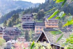 folhas do verde e e casas unfocused em Chengyang Fotos de Stock Royalty Free