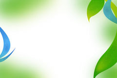 folhas do verde e fundo azul do sumário da onda Fotografia de Stock