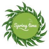 Folhas do verde em torno de um círculo verde ilustração stock
