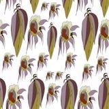 Folhas do vetor e girassóis, fundo branco verde-oliva, marrom, cinzento, de creme, liso ilustração do vetor