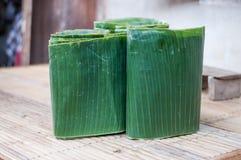 Folhas dobradas da banana Fotos de Stock