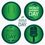 Folhas e árvores em um dia verde do ambiente do logotipo do círculo ilustração stock