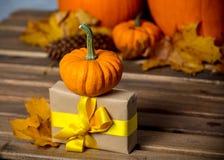 Folhas e abóbora com caixa de presente de Dia das Bruxas Imagem de Stock Royalty Free