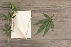 Folhas e flores do cânhamo com o caderno feito a mão do ofício no fundo de madeira do grunge velho Vista superior Modelo de Minim foto de stock