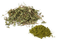Folhas e pó marroquinos da hena foto de stock