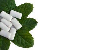 Folhas e pastilha elástica de hortelã no fundo branco foto de stock royalty free