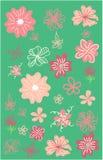 Folhas, flovers, arbustos e grupo das convers?o Elementos florais desenhados m?o ilustração stock