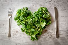 Folhas frescas da salada em uma placa coração-dada forma imagem de stock