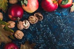 Folhas, maçãs e nozes de outono na placa azul Imagem de Stock