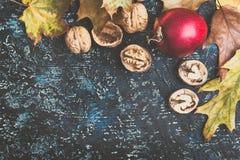 Folhas, maçãs e nozes de outono na placa azul Fotografia de Stock Royalty Free