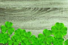 Folhas ou trevos verdes do trevo no fundo de madeira Foto de Stock