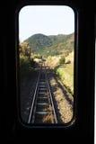 folhas pelo trem Imagens de Stock