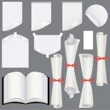 Folhas, rolos e jogo de papel do livro Ilustração do Vetor