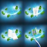 folhas separadas do redemoinho do grupo dental realístico do vetor 3D da hortelã, dente saudável, pelotas da goma, escova de dent ilustração stock