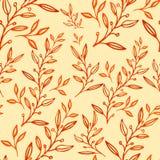 Folhas tiradas do teste padrão mão floral sem emenda ilustração royalty free