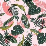 Folhas tropicais brilhantes e frescas Projeto gráfico sem emenda com p ilustração stock