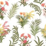 Folhas tropicais do teste padrão sem emenda da palmeira e das flores Imagem de Stock