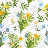 Folhas tropicais do teste padrão sem emenda da palmeira e das flores Foto de Stock Royalty Free