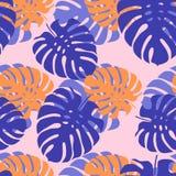 Folhas tropicais em uma luz - fundo cor-de-rosa ilustração stock