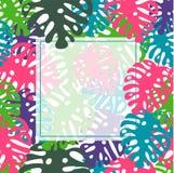 Folhas tropicais molde do vetor, cópia, fundo Projeto na moda do verão ilustração royalty free