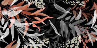 Folhas tropicais, teste padrão sem emenda, obscuridade pastel do shadeson ilustração do vetor