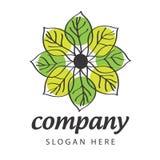 Pétalas verdes e amarelas do logotipo ilustração stock