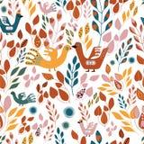 Folhas verdes alaranjadas populares amarelas e do vermelho e repetição seameless dos pássaros ilustração stock