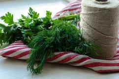 Folhas verdes da salsa e do aneto no guardanapo de linho natural no fundo de madeira Imagens de Stock