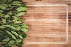 Folhas verdes na tabela de madeira fotografia de stock