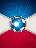 Folheto abstrato do futebol do vermelho azul com bola rabiscada ilustração do vetor