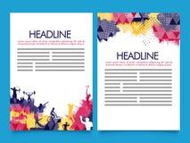 Folheto de duas páginas, molde para o conceito dos esportes Imagens de Stock Royalty Free