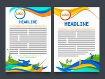 Folheto de duas páginas, molde para o conceito dos esportes Fotografia de Stock Royalty Free