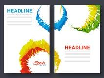 Folheto de duas páginas, molde para o conceito dos esportes Fotos de Stock