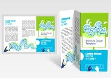 Folheto, disposição da z-dobra da brochura Molde editável do projeto Fotos de Stock