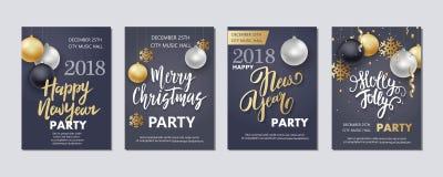Folheto do ano novo e do Natal, inseto, convite Fotografia de Stock