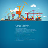 Folheto do cartaz do porto da carga ilustração stock